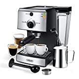 Espresso Machines 15 Bar Coffee Machine with Milk Frother Wand for Espresso, Cappuccino, Latte and Mocha, 1.5L large Removable Water Tank, Double Temperature Control System, Sliver