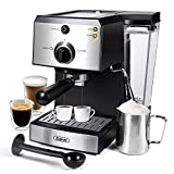 Gevi Espresso Machines 15 Bar Fast Heating Cappuccino Coffee Maker with Foaming Milk Frother Wand for Espresso, Latte Machiato, 1.25L Removable Water Tank, Double Temperature Control System, 1350W